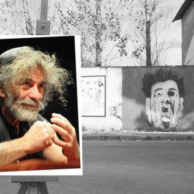 Faccia da libro Mauro Corona Graffiti di Artisti di Strada Piazzale Ebensee, Prato